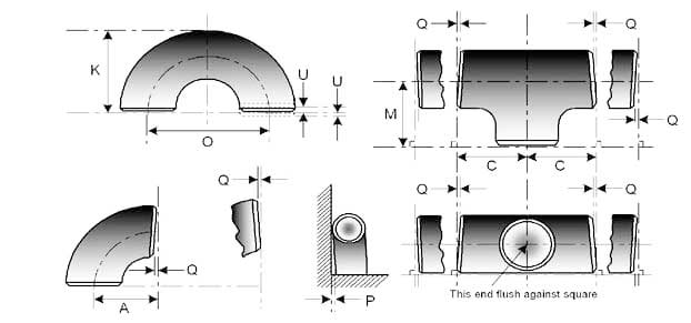Buttweld Pipe Bends Dimensions